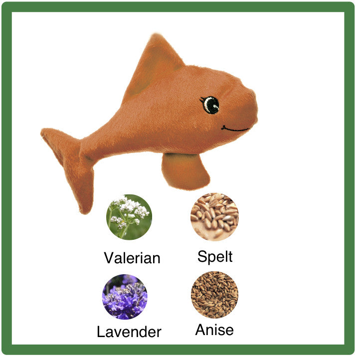 "Plush Orange Valerian Cat Toy is a 6"" Fish"