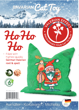 Product label for cotton valerian cat sack with Santa & reindeer