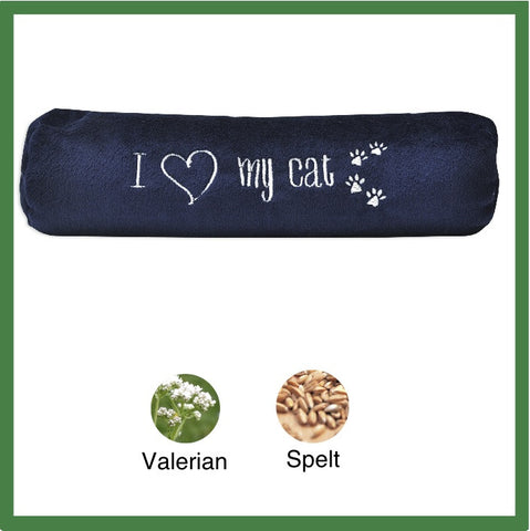 "Plush Cat Toy Roll embroidered ""I Love My Cat"""