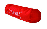 "Long Red Plush Roll Toy embroidered ""I Love My Cat"""