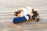 "Cat playing with long blue Plush Roll Toy embroidered ""I Love My Cat"""