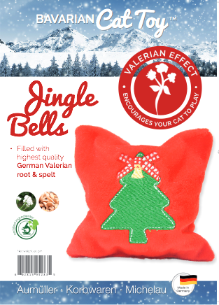 Product label for Christmas valerian cushion with embroidered tree