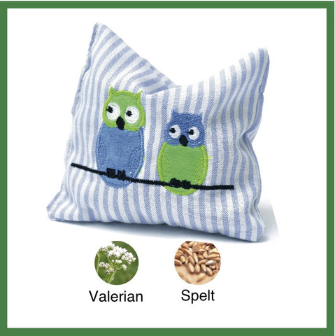Blue & White striped valerian sack embroidered with owls
