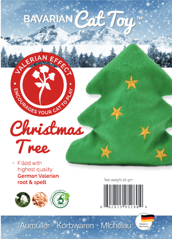 Product label for plush Christmas tree valerian cat toy