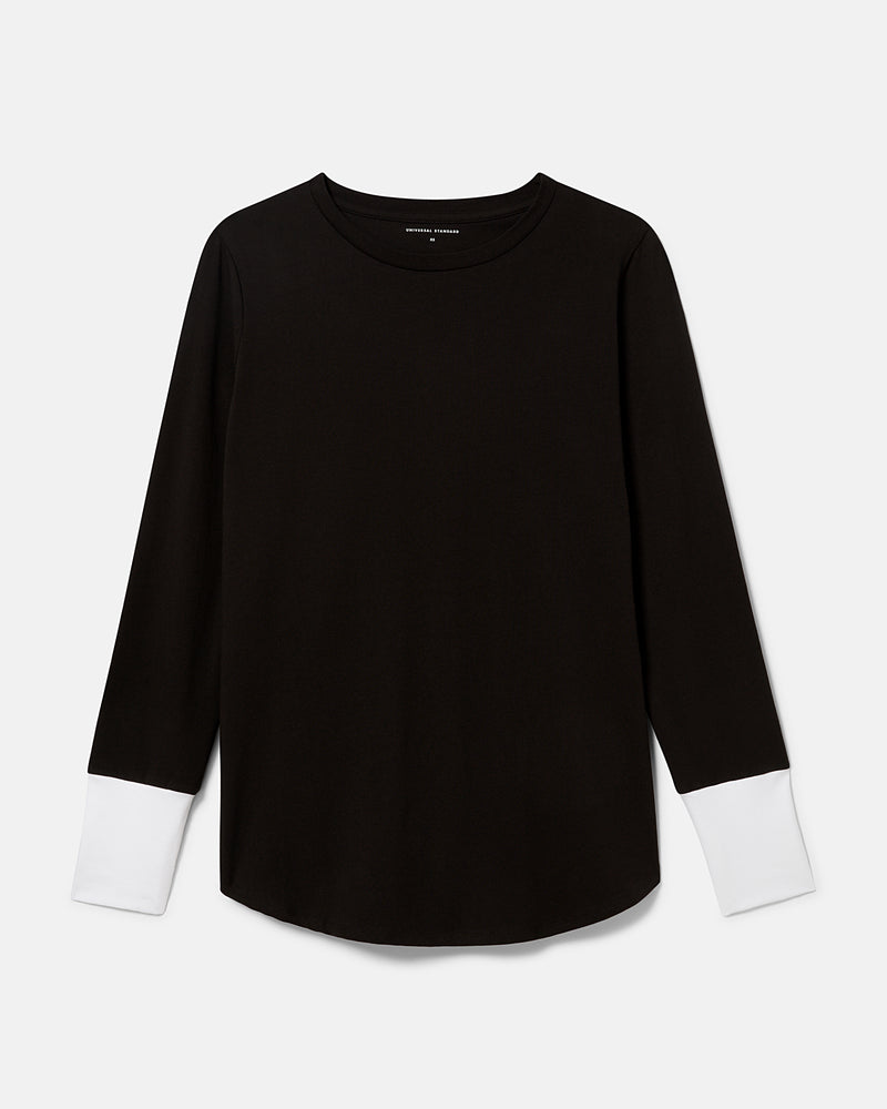 Rhine Color Block Cuff Top - Black/White