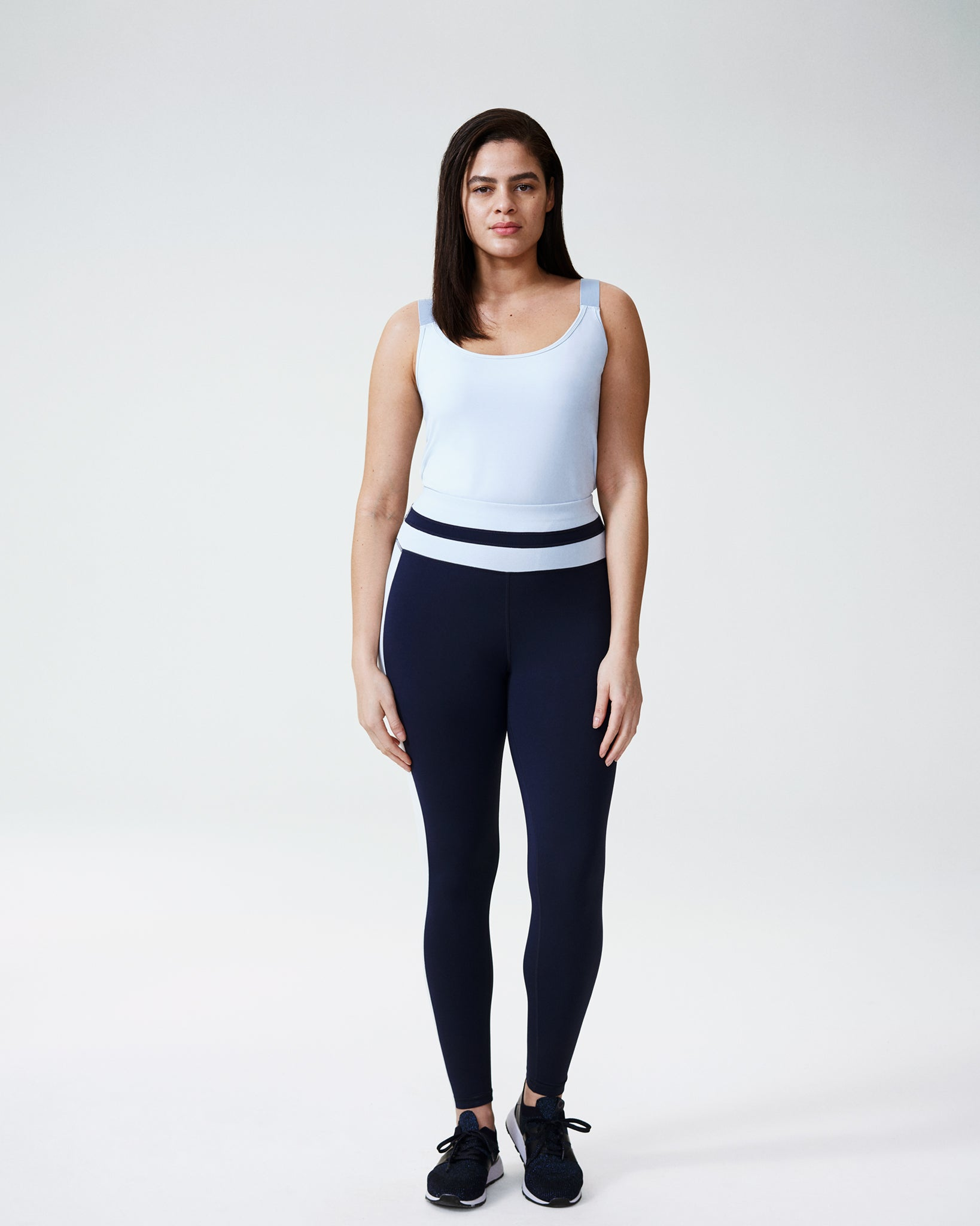 Ace Contrast Panel 7/8 Leggings - Navy/Powder Blue