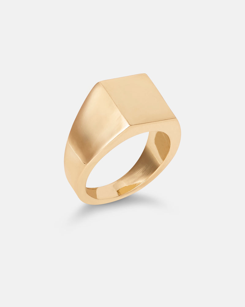 Angular Signet Ring - Gold Plate