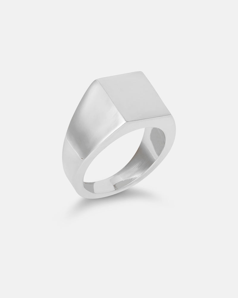 Angular Signet Ring - Silver Plate