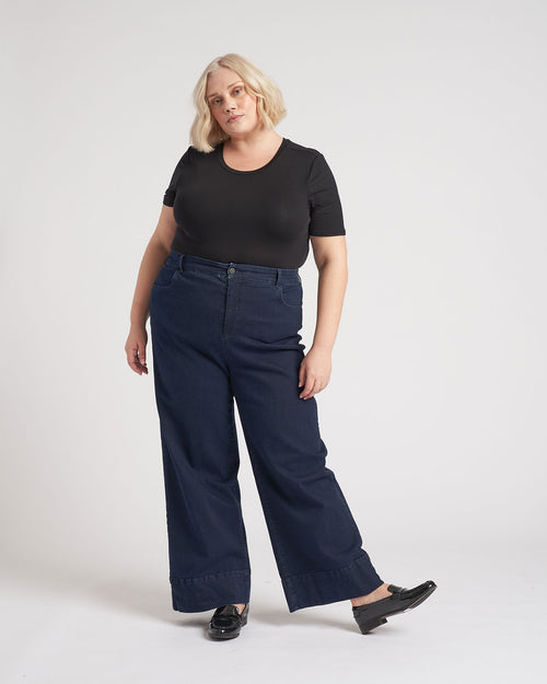 Carrie High Rise Wide Leg Jeans - Dark Indigo