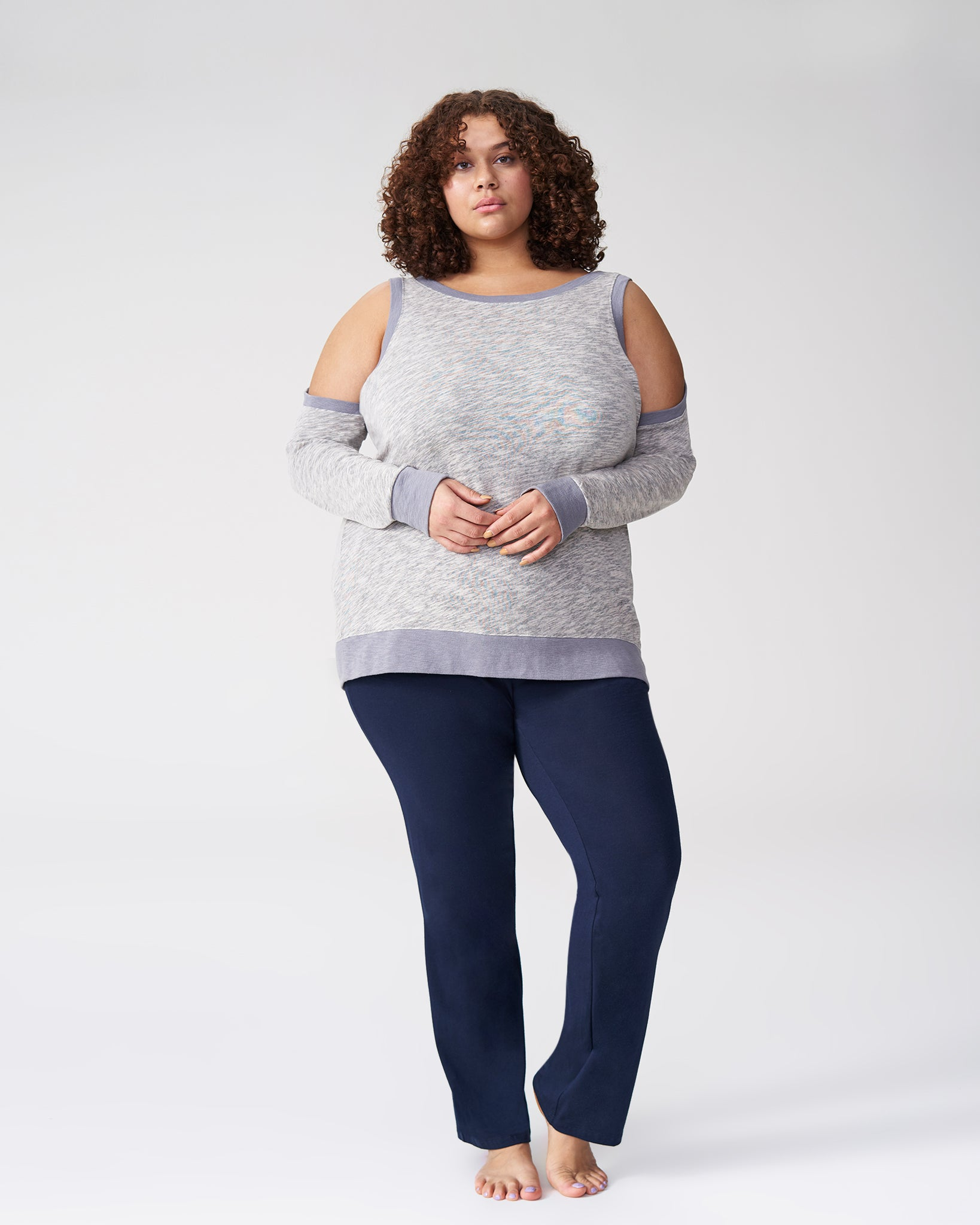 Mariah Cold Shoulder Knit Top - Heather Grey