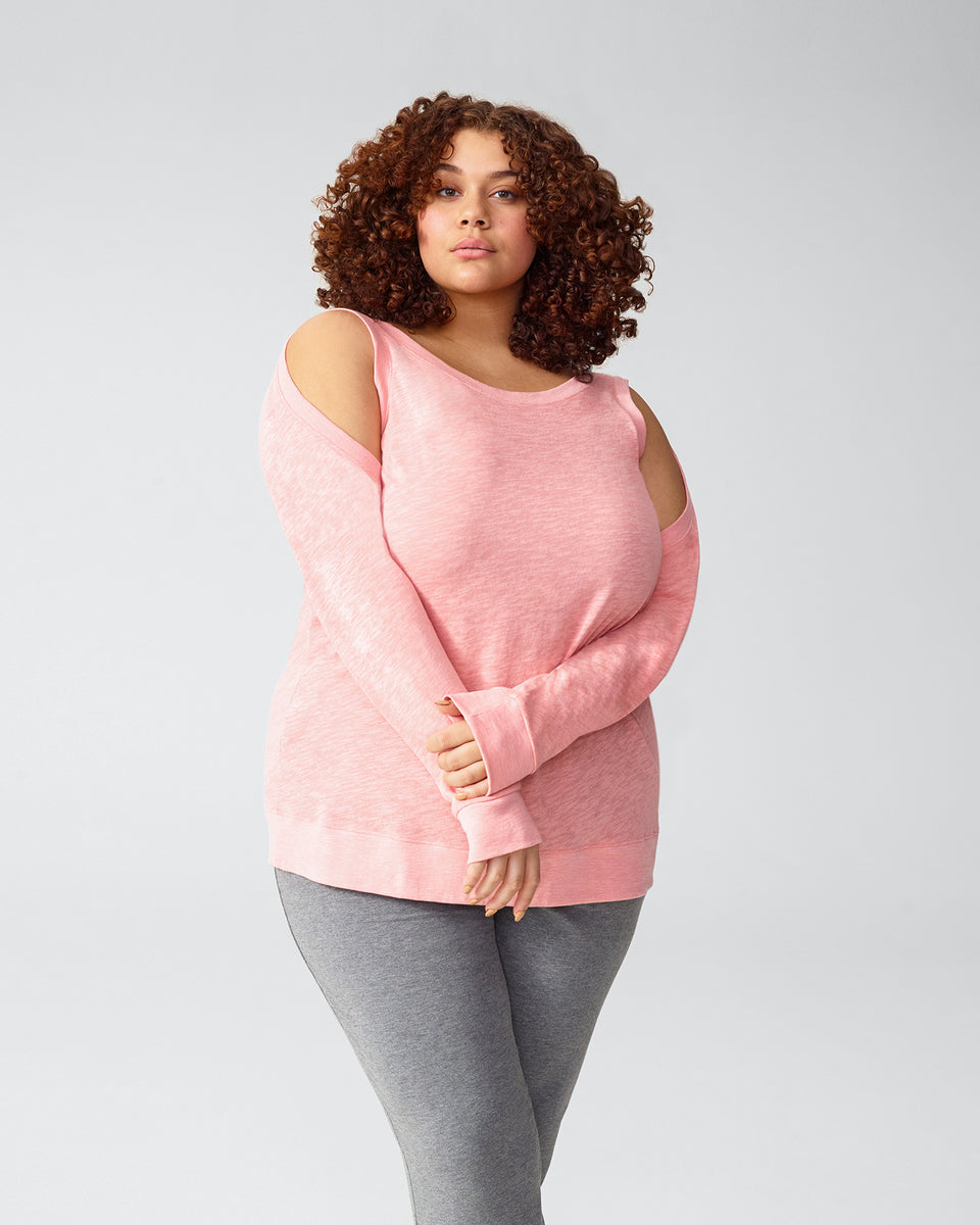 Mariah Cold Shoulder Knit Top - Rose