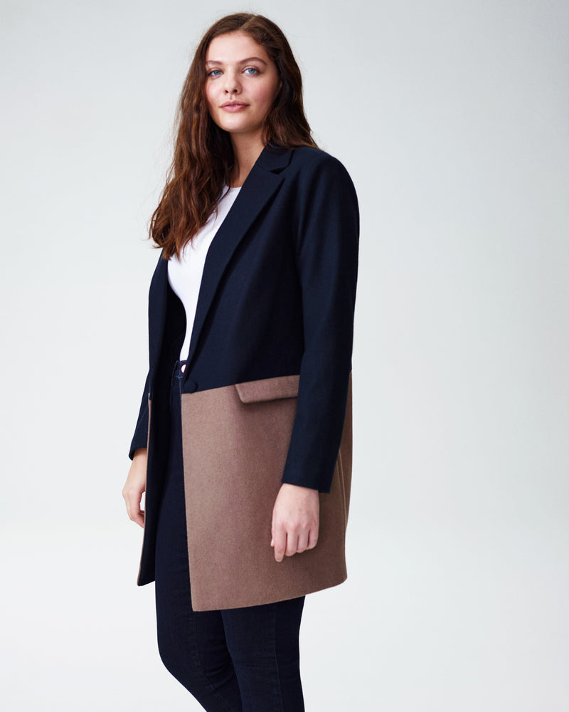 a141ae43153 Galeras Color Block Wool Coat - Navy Taupe - Universal Standard