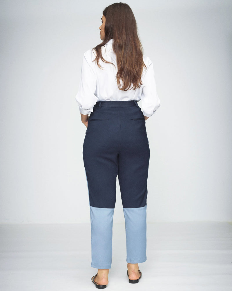 Vega Brushed Twill Color Block Pants - Navy/Placid Blue