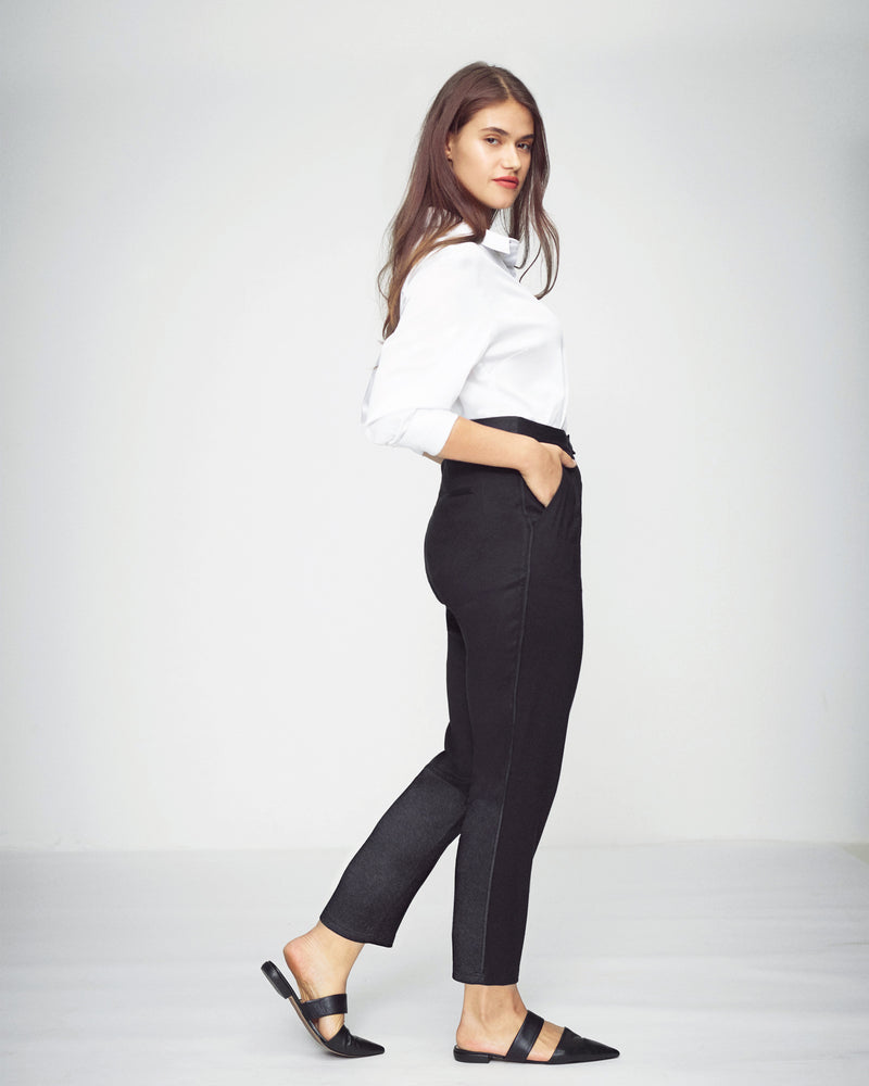 Vega Brushed Twill Color Block Pants - Black