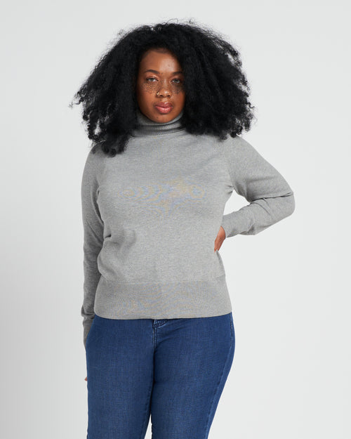 Renee Raglan Turtleneck - Heather Grey