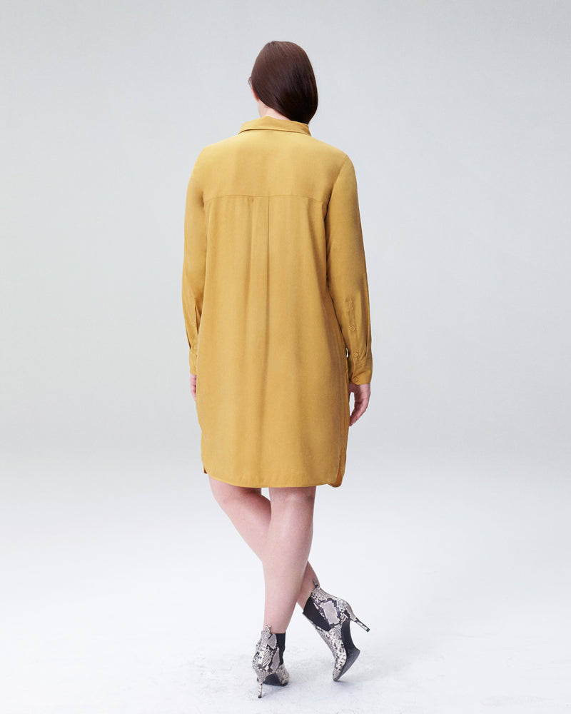 Cupro Rubicon Shirt Dress - Gold