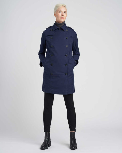 Derjon Trench Coat - Navy