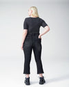 Sava High Rise Slight Flare Cropped Jeans - Distressed Black Image Thumbnmail #4