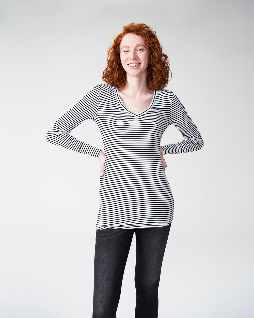 Foundation Long Sleeve V Neck Tee - White/Black Stripe