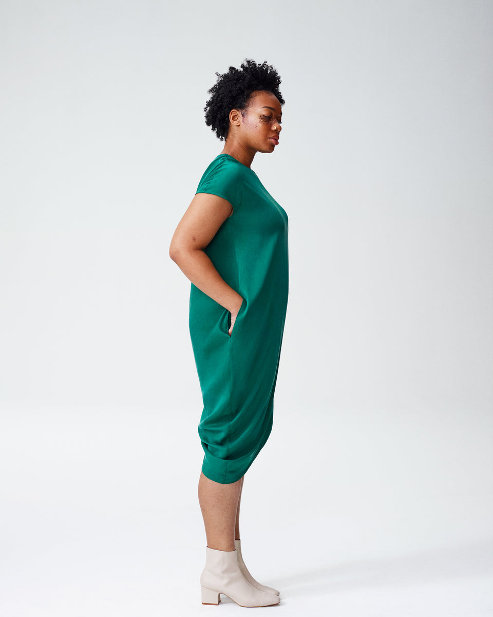 Cupro Geneva Tunic Dress - Kelly Green