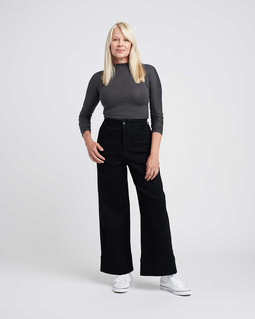 Carrie High Rise Wide Leg Jeans - Black
