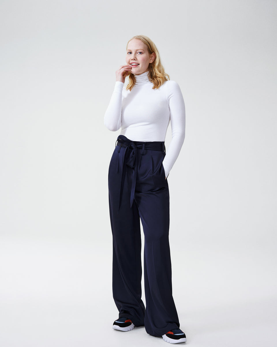 Tresa Wide Leg Tie Pants - Navy