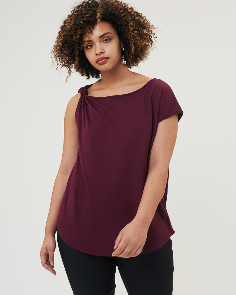 Jersey Knot Top - Eggplant
