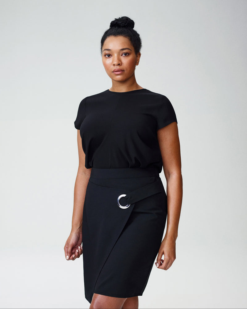Laurene Grommet Wrap Skirt - Black