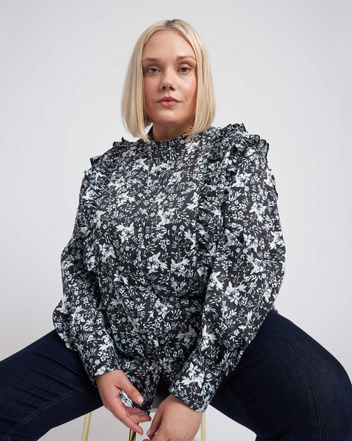 Kalina Long Sleeve Ruffle Shirt - Black Floral