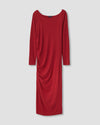 Simone Side Ruched Bamboo Blend Dress - Red Dahlia Image Thumbnmail #3