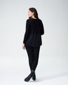 Dalia Mixed Media Sweater - BlackImage #4