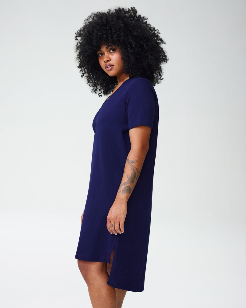 Petite Tesino Washed Jersey Dress - Evening Blue