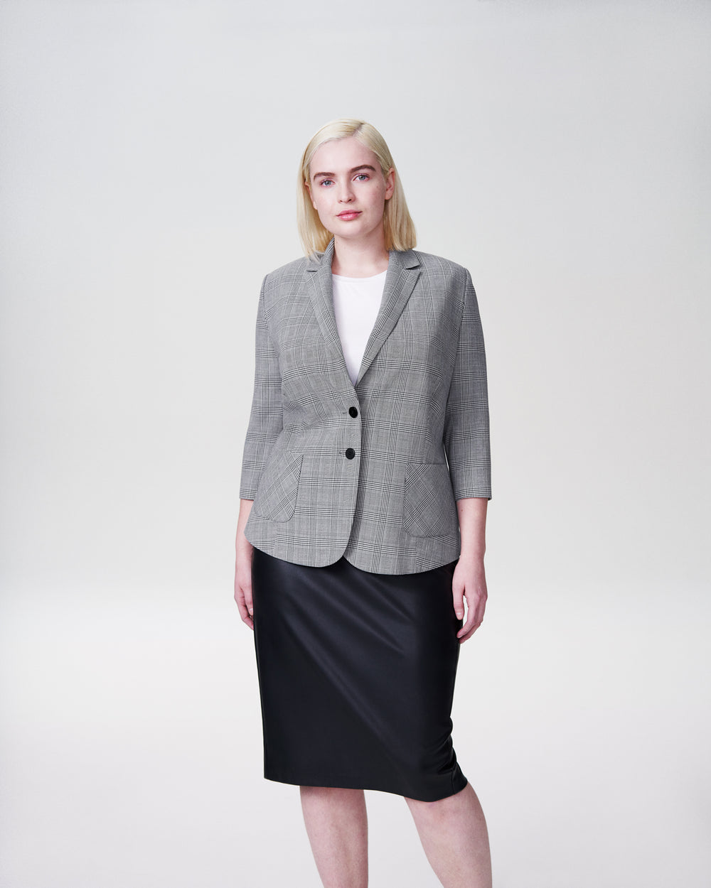 Meg Short Blazer - Grey Plaid