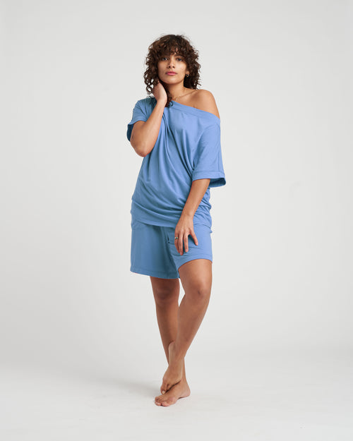 Dolci Short Sleeve Top - Cerulean