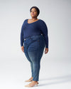 Foundation Long Sleeve V Neck Tee - Navy Image Thumbnmail #3