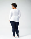Foundation Long Sleeve V Neck Tee - White Image Thumbnmail #4