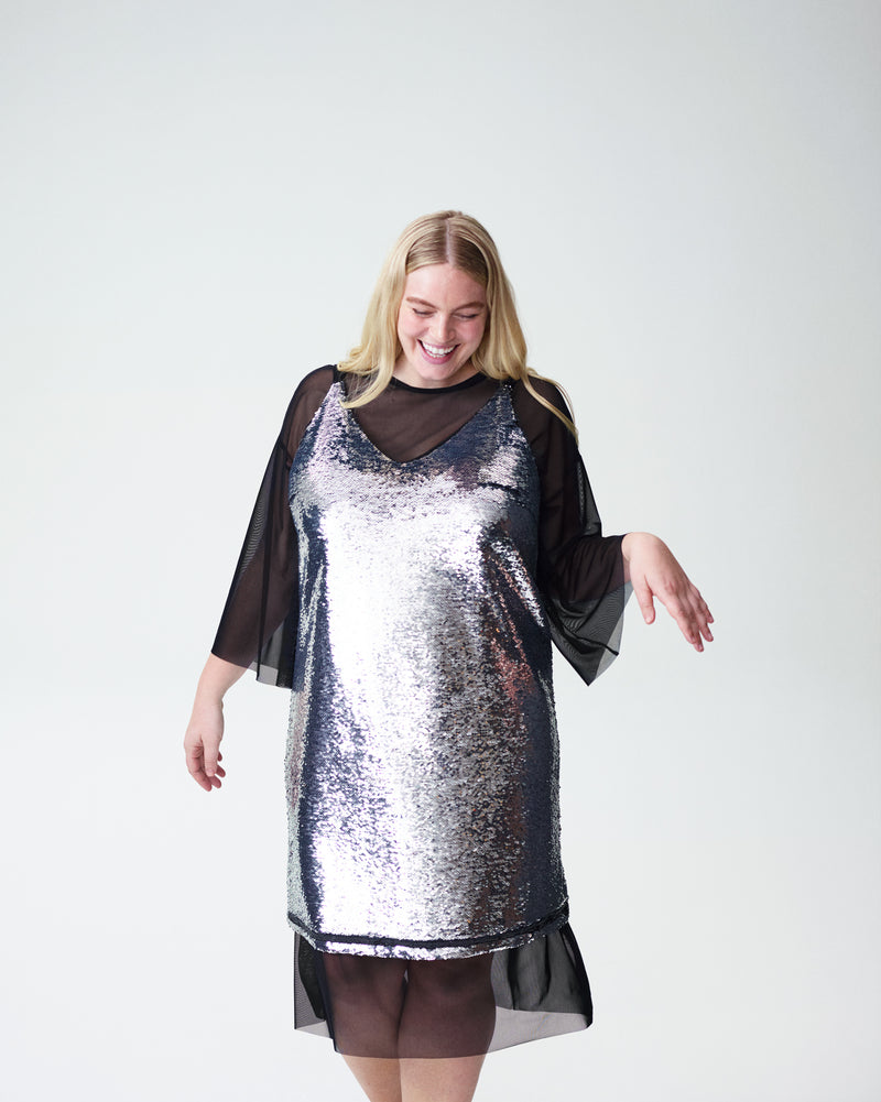 Wonder Sequin Slip Dress and Thames Belle Sleeve Mesh Dress Set - Silver/Black