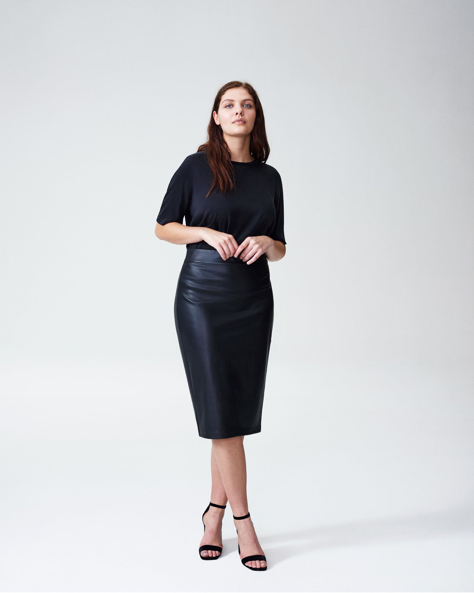 Sillaro Leatherette Pencil Skirt - Black