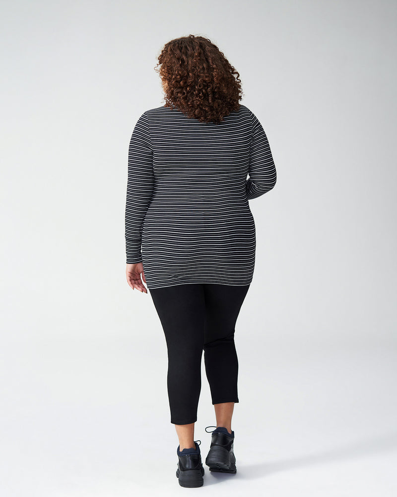 Foundation Long Sleeve Crew Neck Tee - Black/White Stripe
