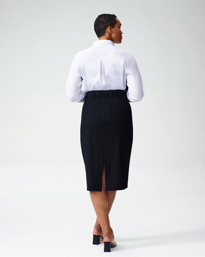 Barra Wool Suiting Skirt - Black