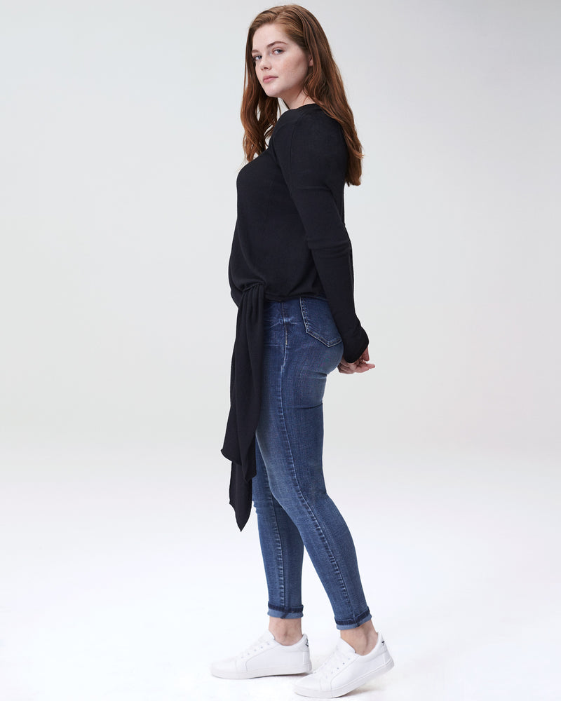 Arenal Front Tie Sweater - Black
