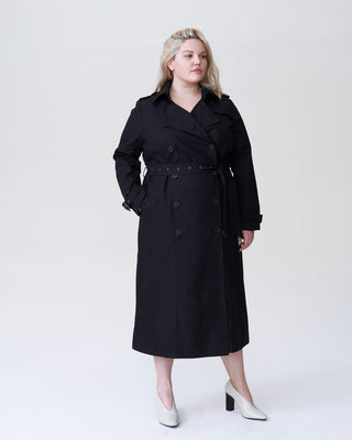 Tirsa Long Trench Coat - Black