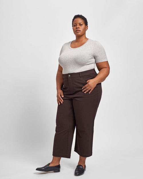 Faye Stretch Cotton Twill Boyfriend Crop Pants - Mole