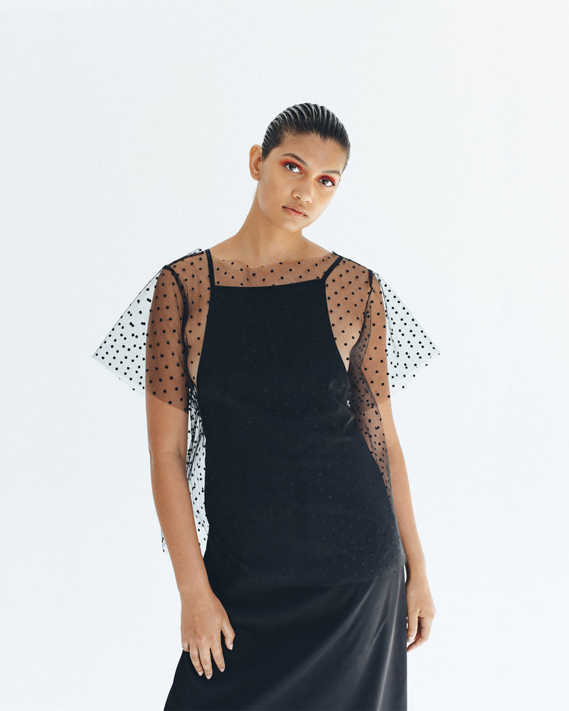 Structured Netting Tee - Black