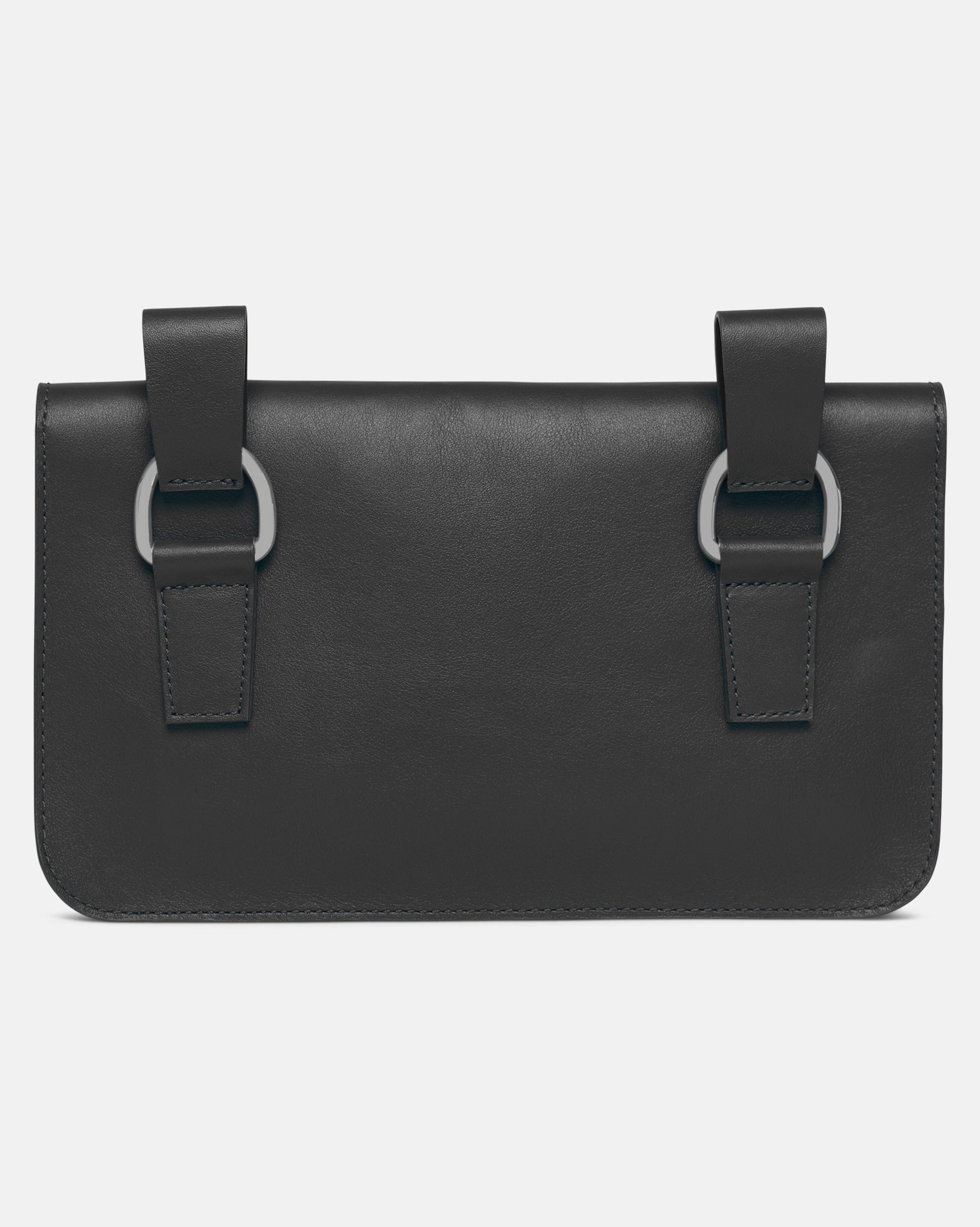 Leather Maxi Pochette - Black