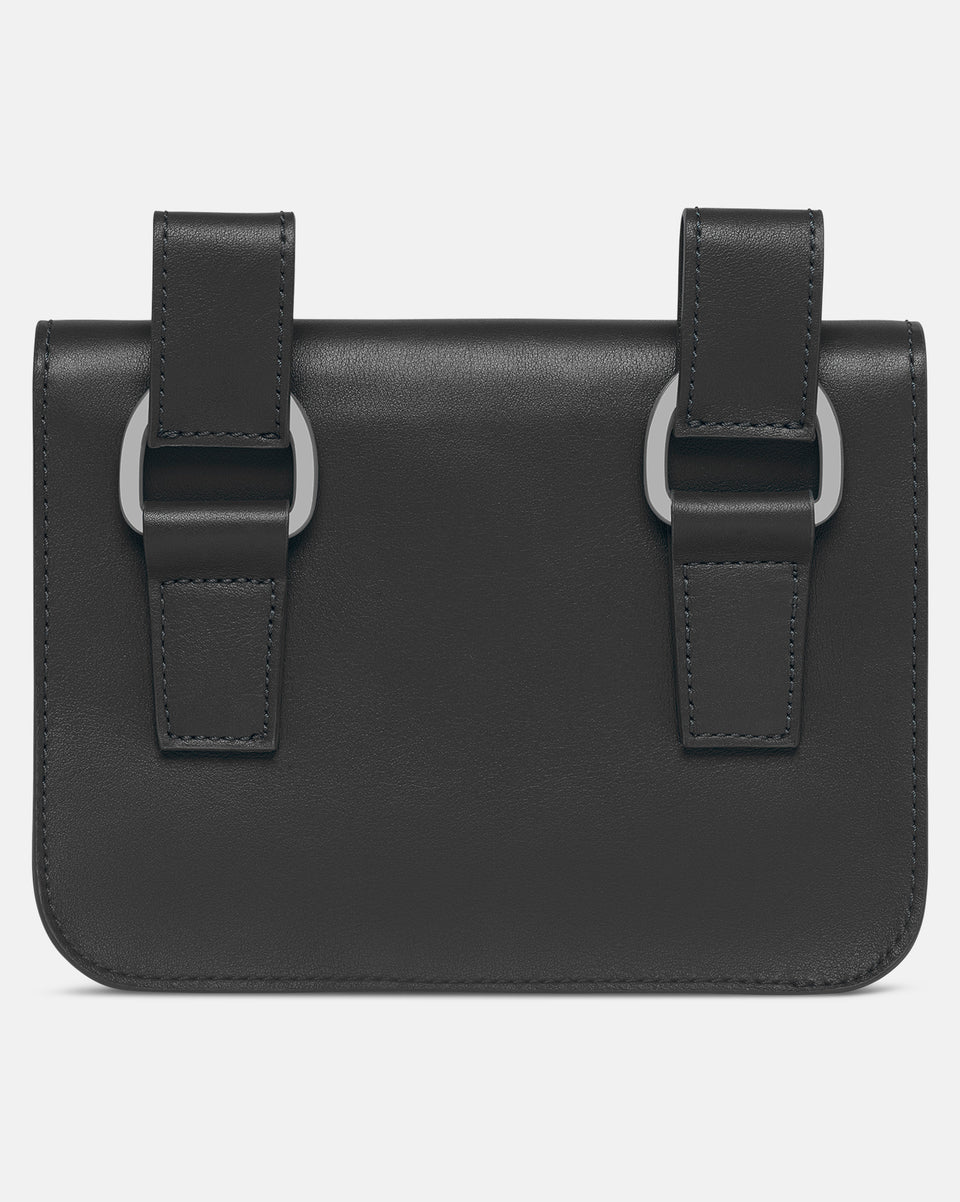 Leather Midi Pochette - Black
