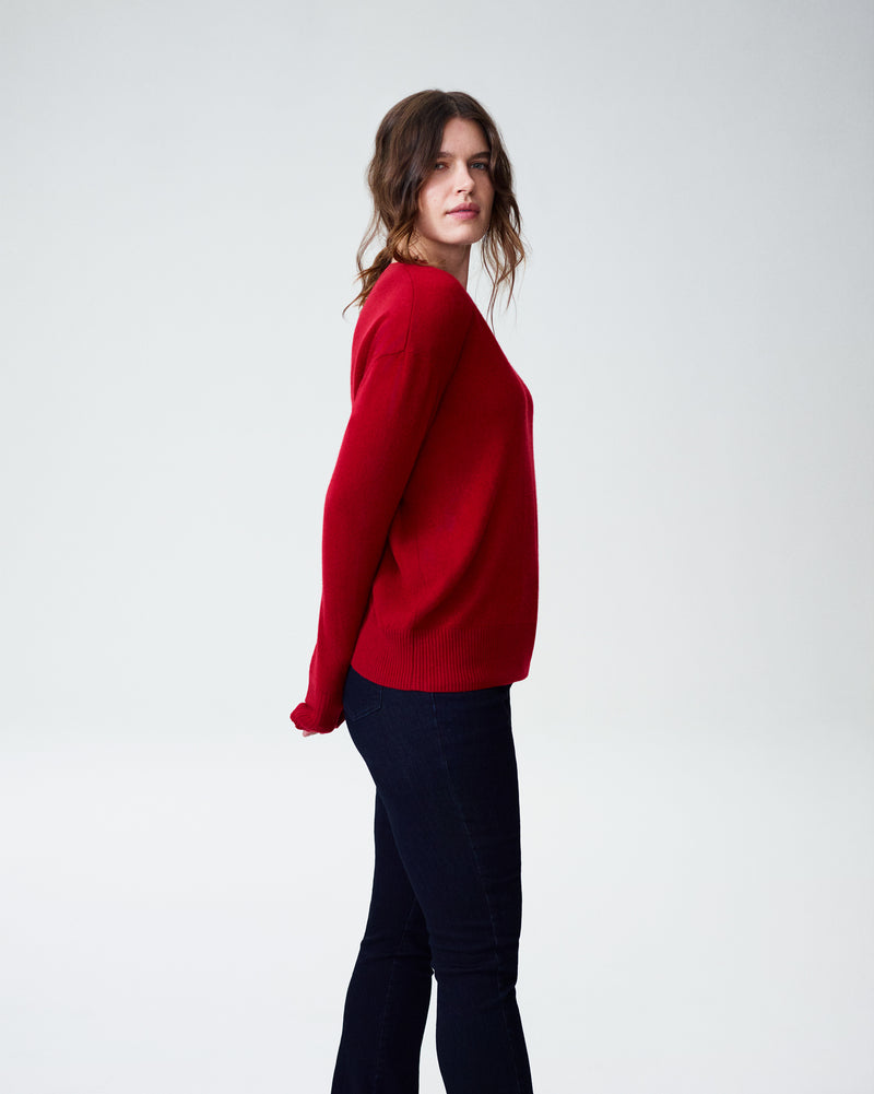Katla V Neck Sweater - Red Dahlia