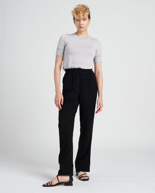 Marina Luxe Twill Pull-On Pants - Black/Black Matte