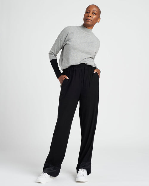 Marina Luxe Twill Pull-On Pants - Black/Black Shine