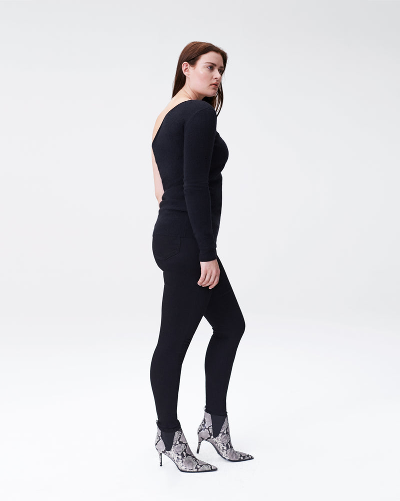 Yarra Long Sleeve Shrug Sweater - Black